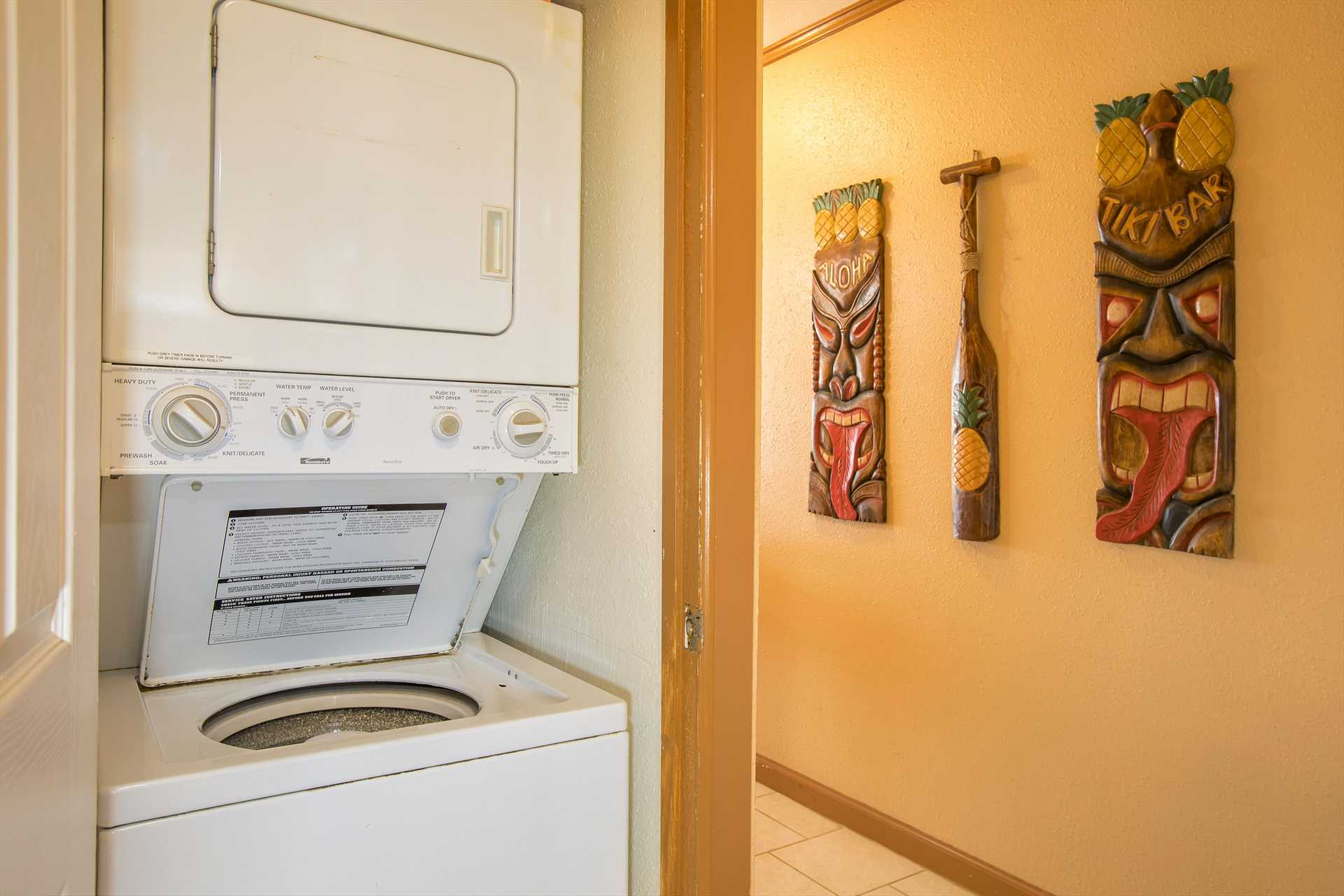 Washer and dryer conveniently located inside the condo