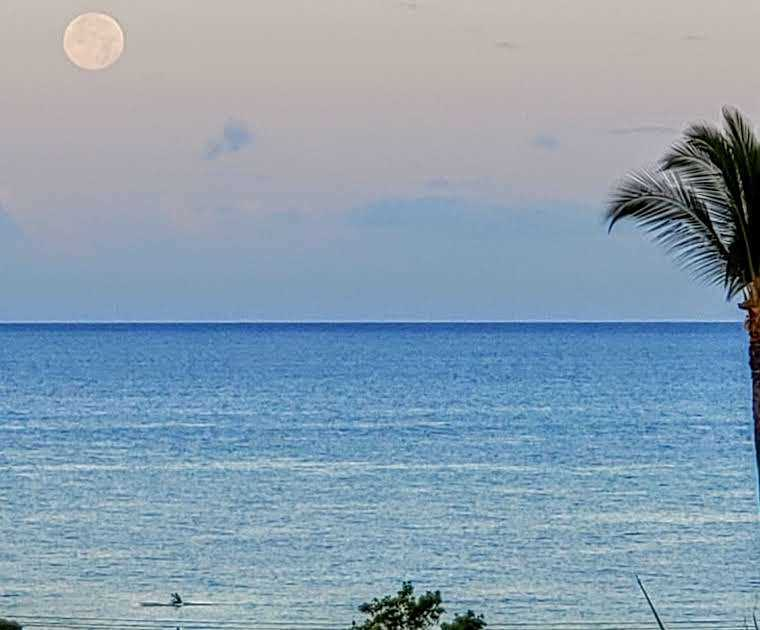 View from C618 Lanai of moon setting into ocean early mornin