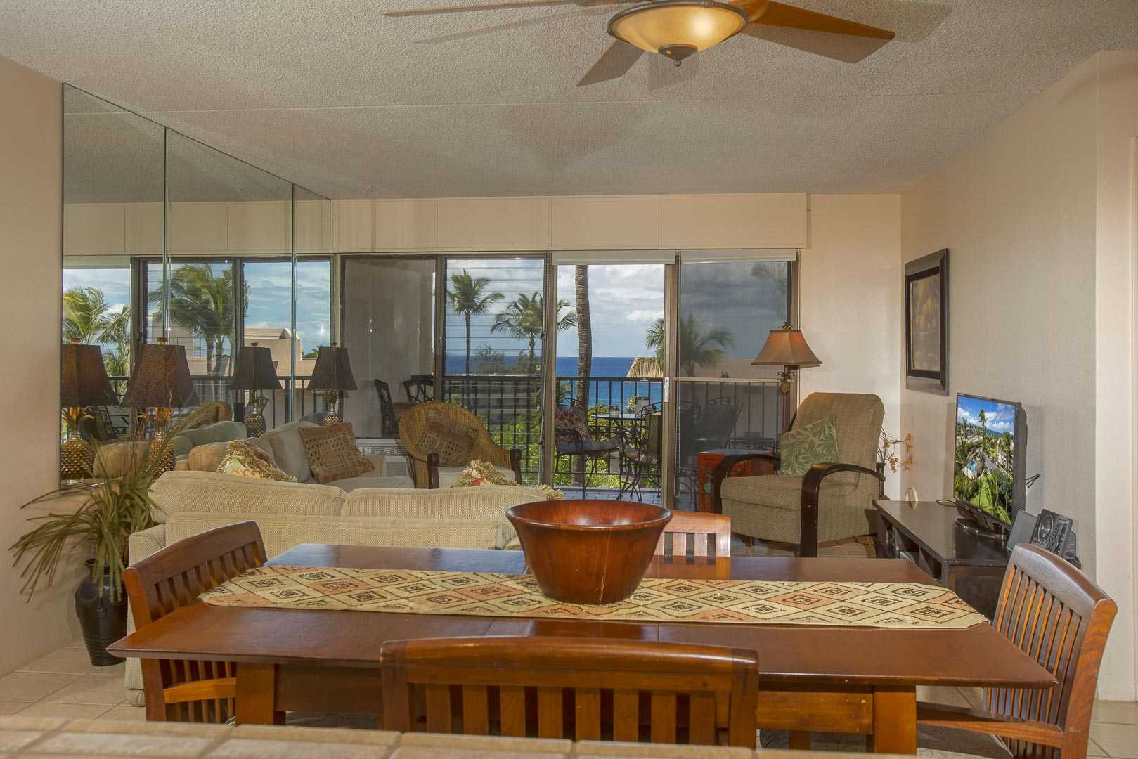 Ocean views from D402 kitchen out to living area and lanai