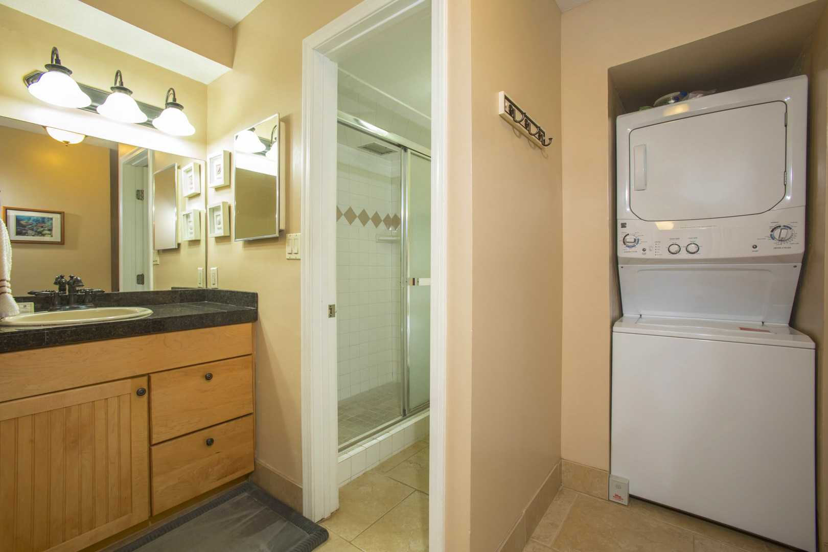 Vanity area and washer and dryer for your convenience