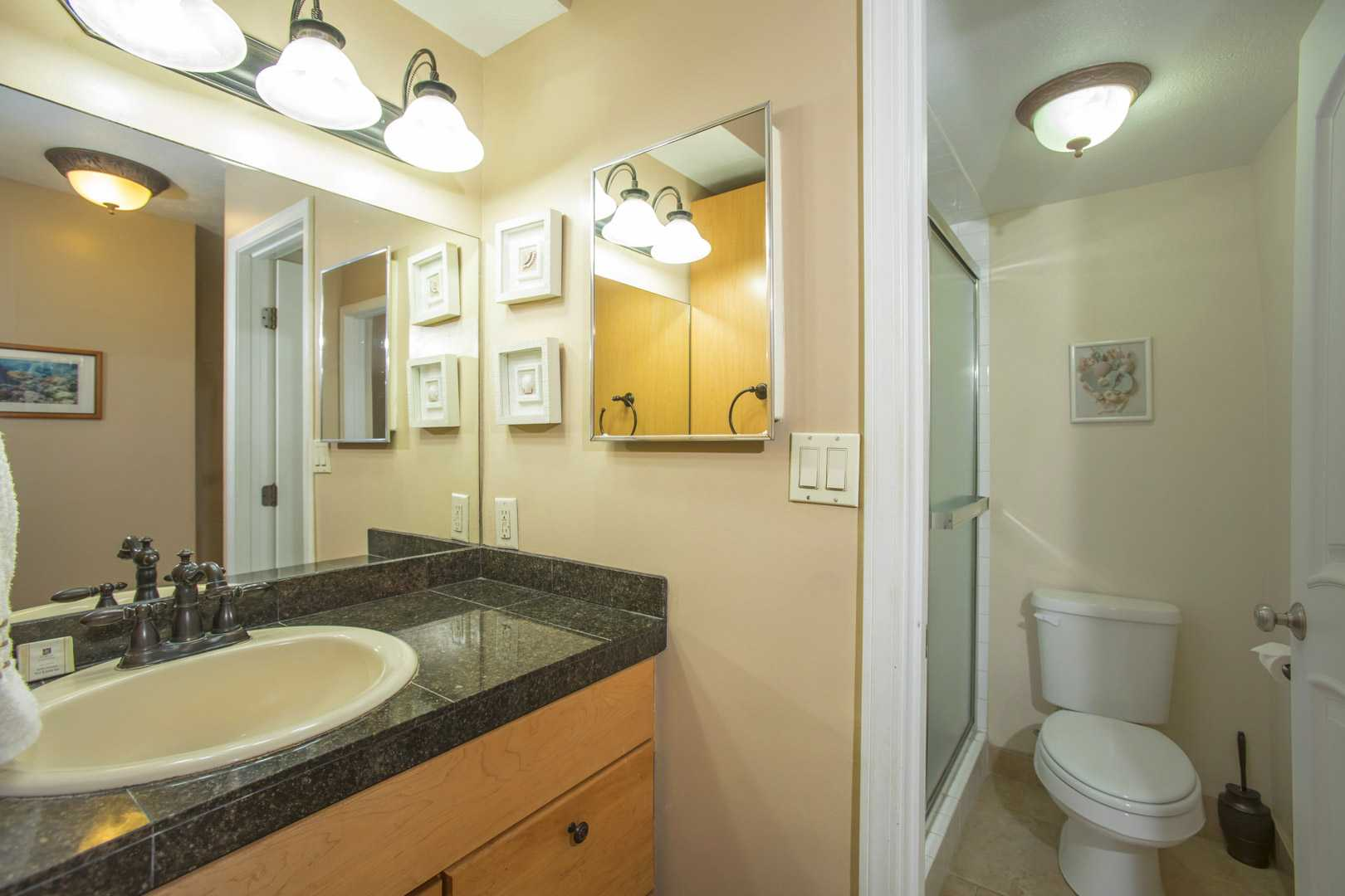 Vanity into bathroom