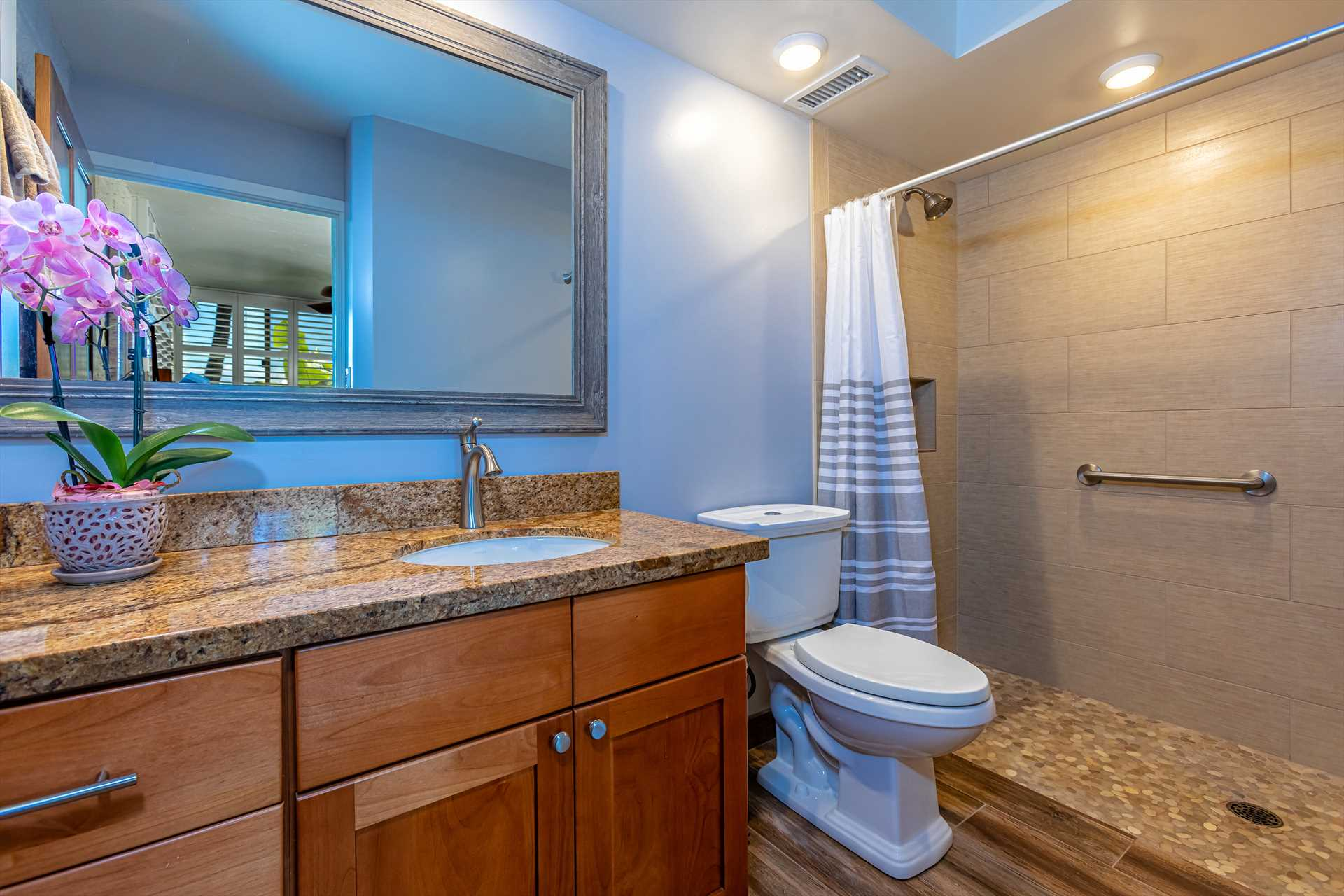 1st bathroom with roll-in shower for wheelchair access