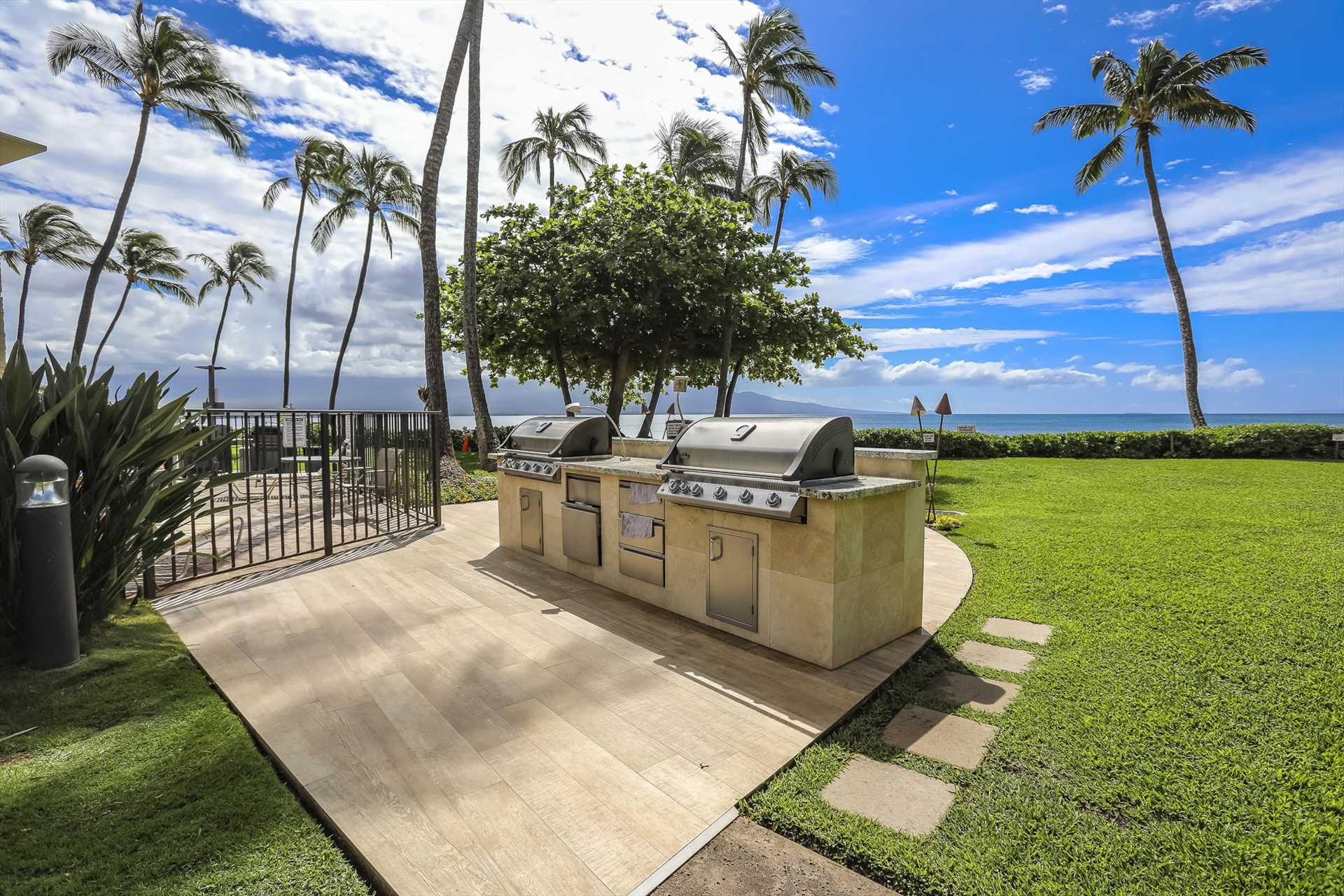 Enjoy oceanfront dining as you grill some of your meals outs