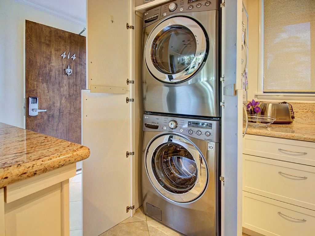 Washer and dryer located in unit for convenience