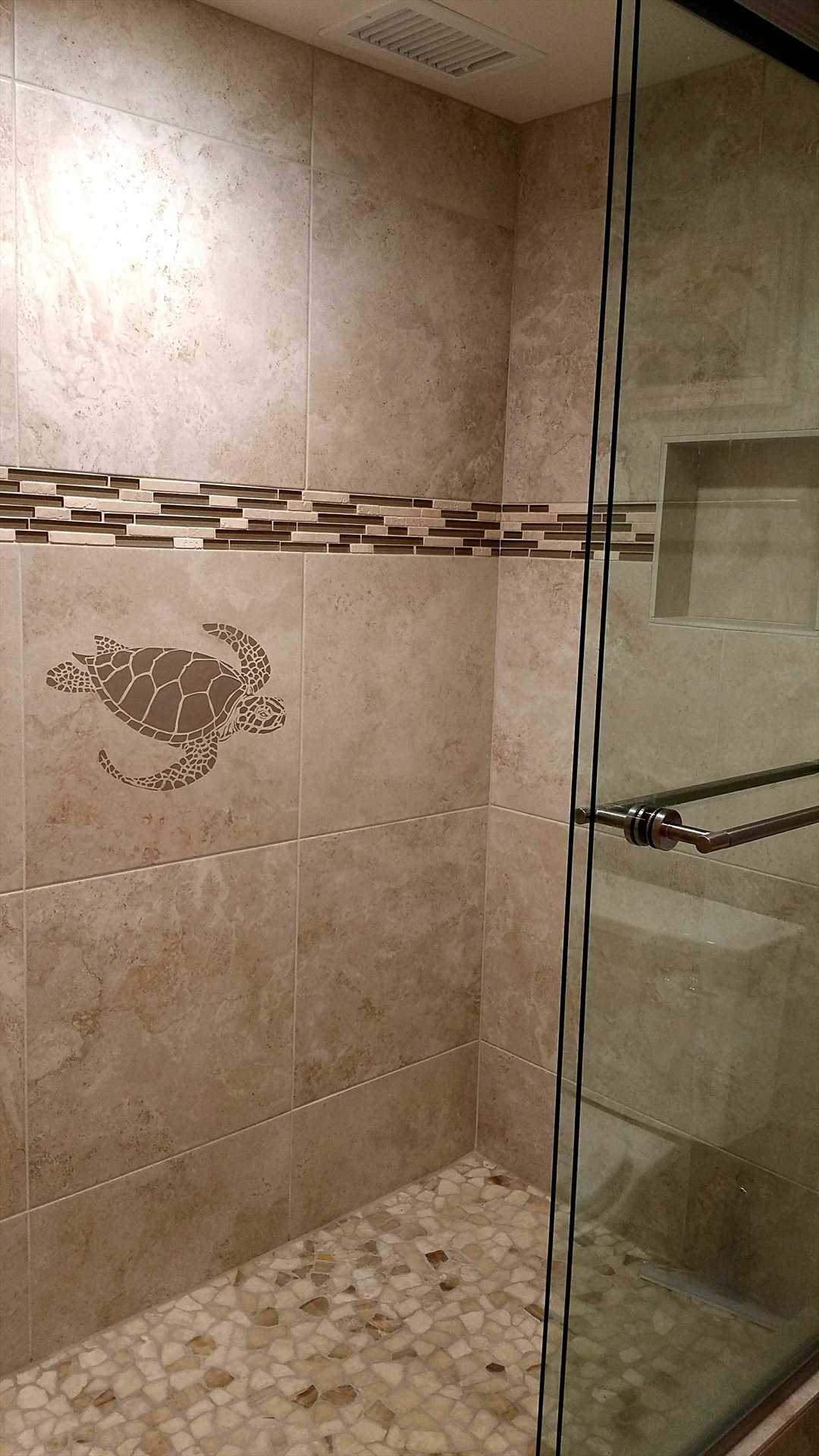 Brand new tiled shower at Kihei Akahi D506