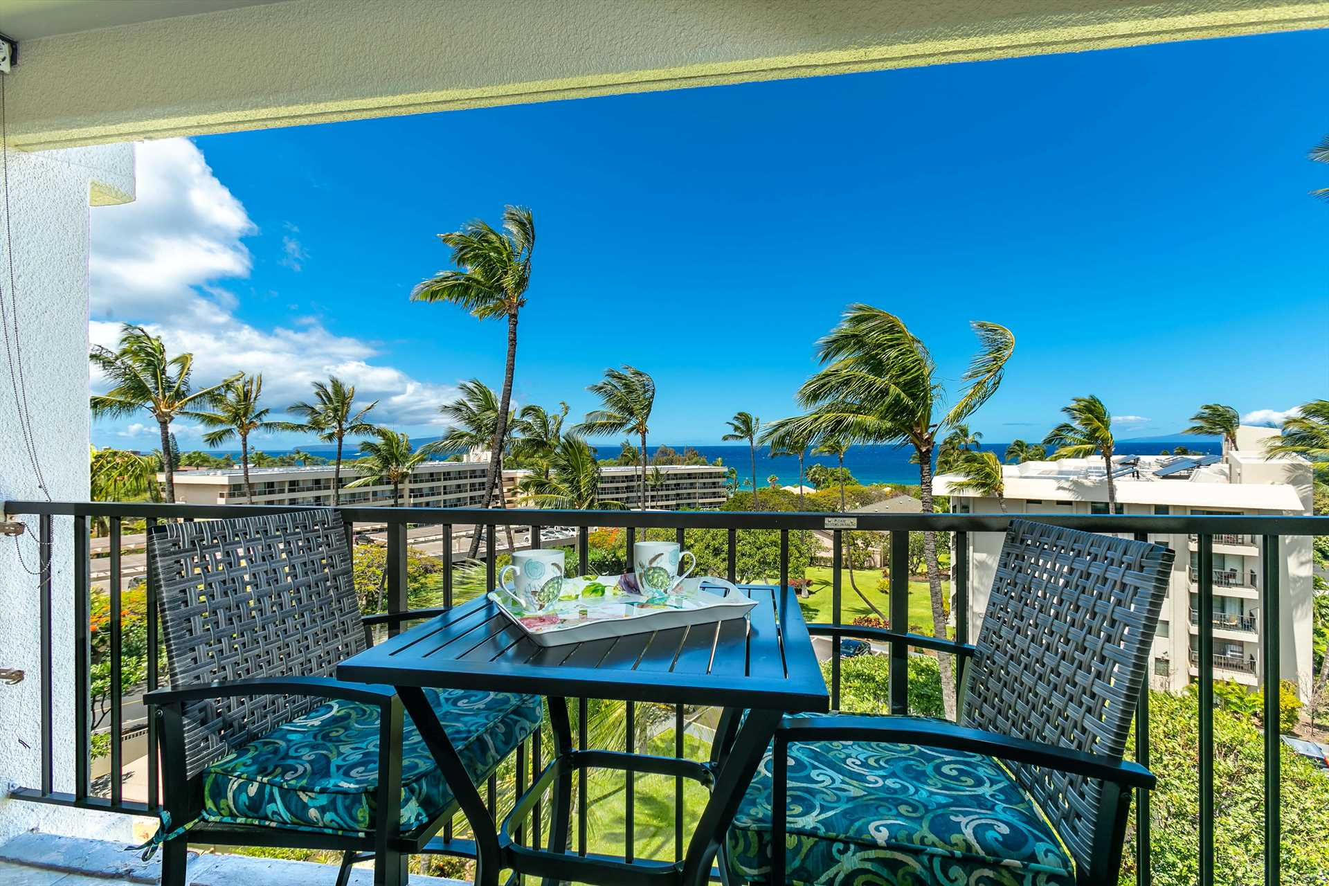 Stunning view of the ocean, garden, Kahoolawe Island and Mol