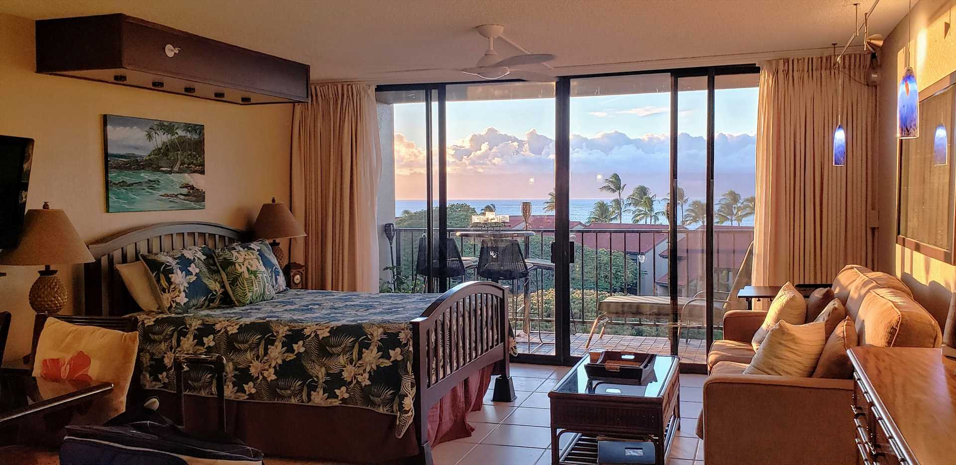 Sunset view from living room and lanai unit 734