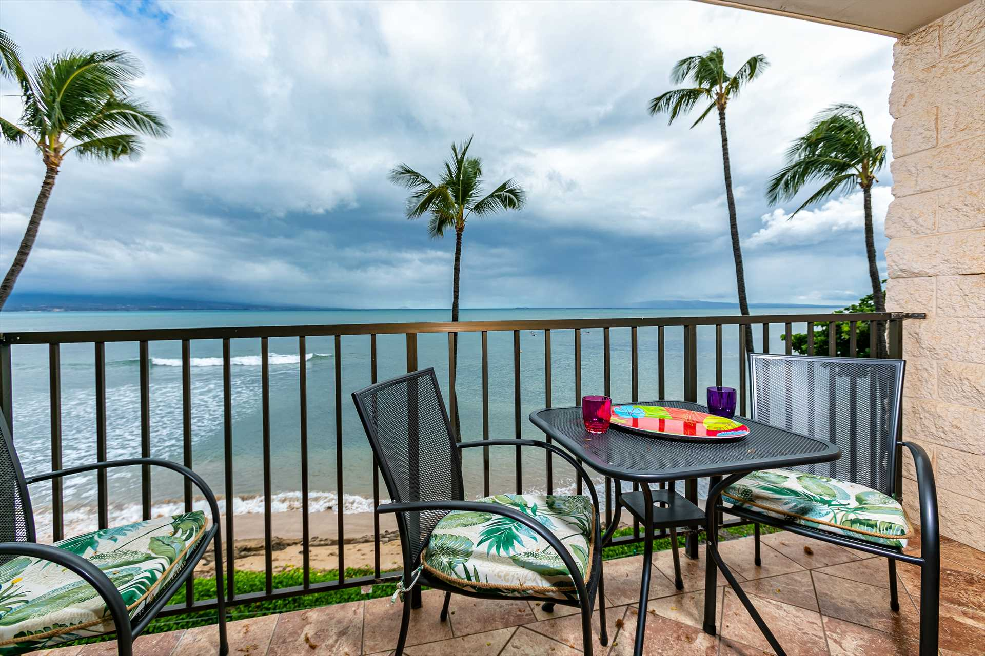Enjoy epic sunsets from the lanai at Kanai A Nalu 318
