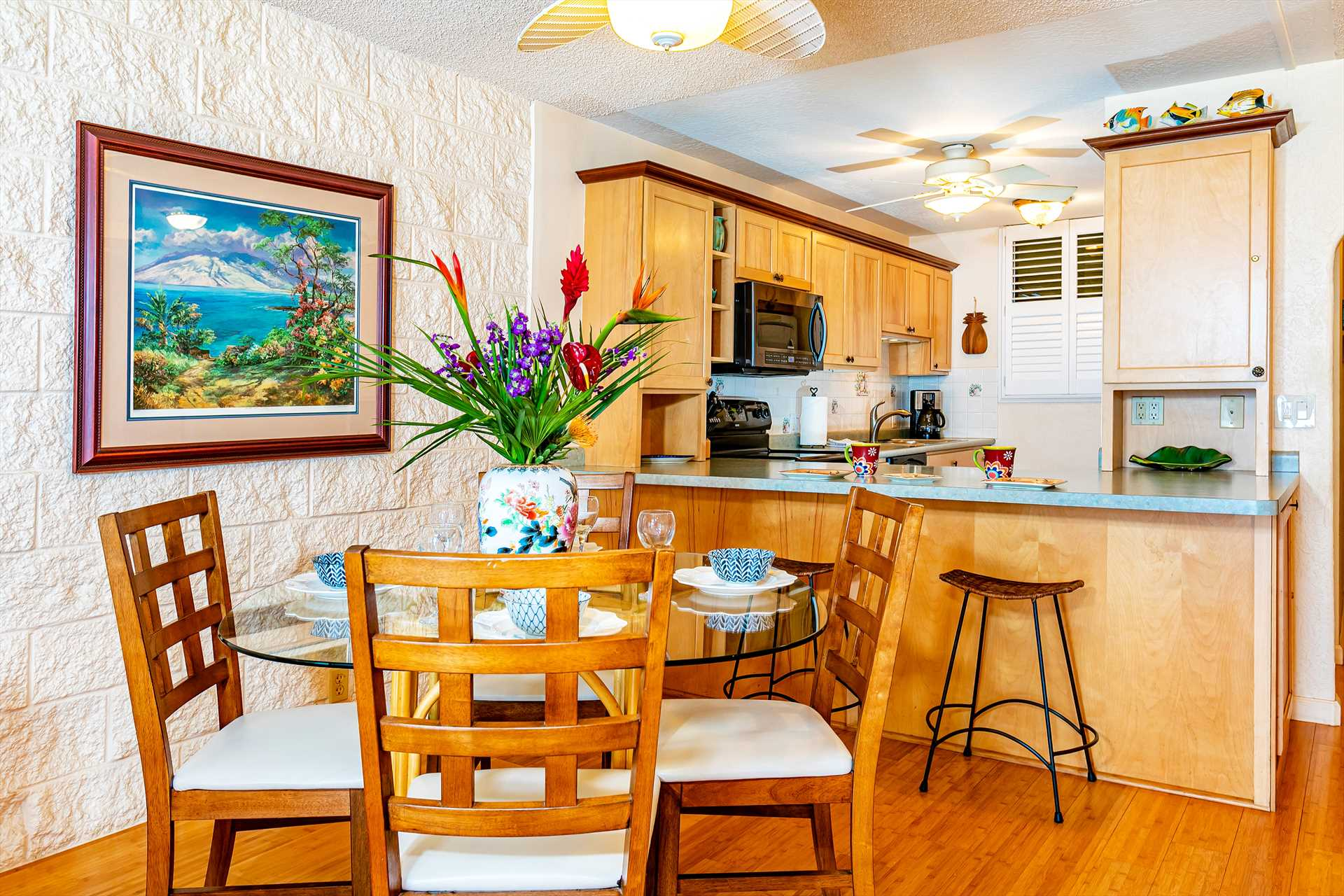 Enjoy great views of the ocean, islands and mountain while h