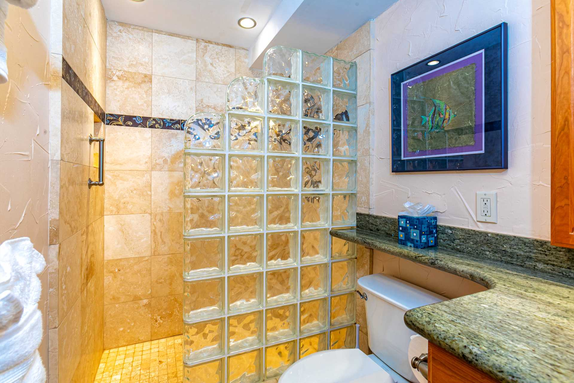 Guest Bathroom with walk-in shower and removeable shower hea