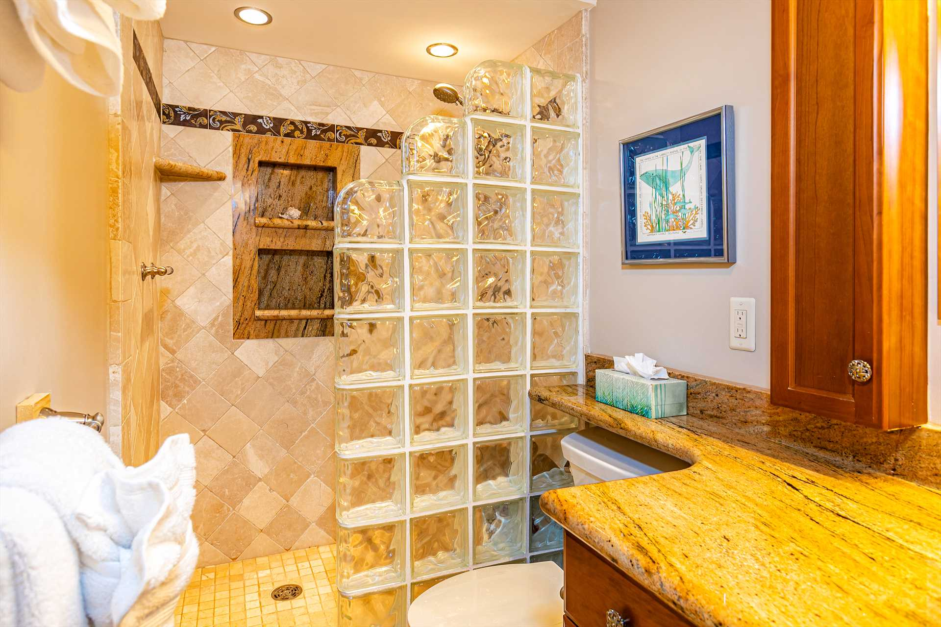 Master bathroom with glass block enclosed walk-in shower and