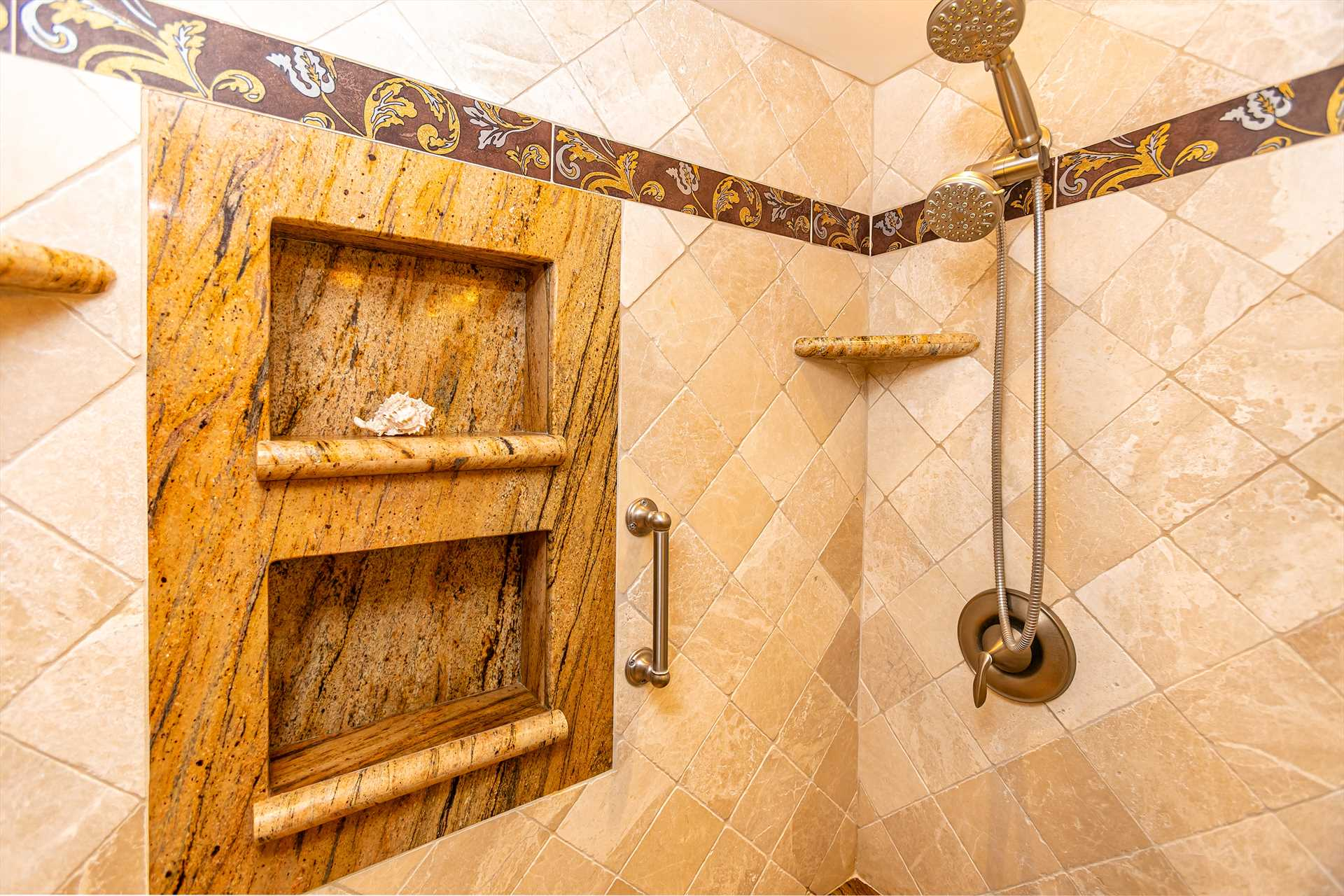 Master bathroom with walk-in shower and removeable shower he