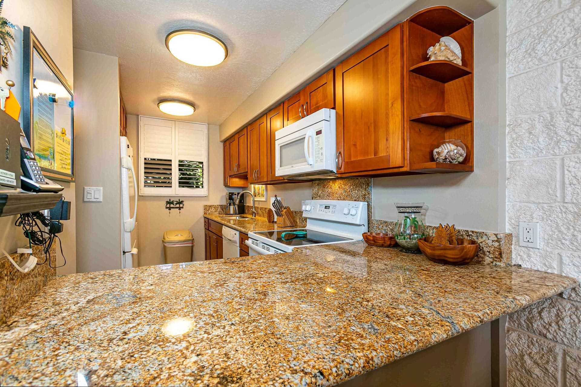 Fully stocked kitchen with all the modern conveniences.