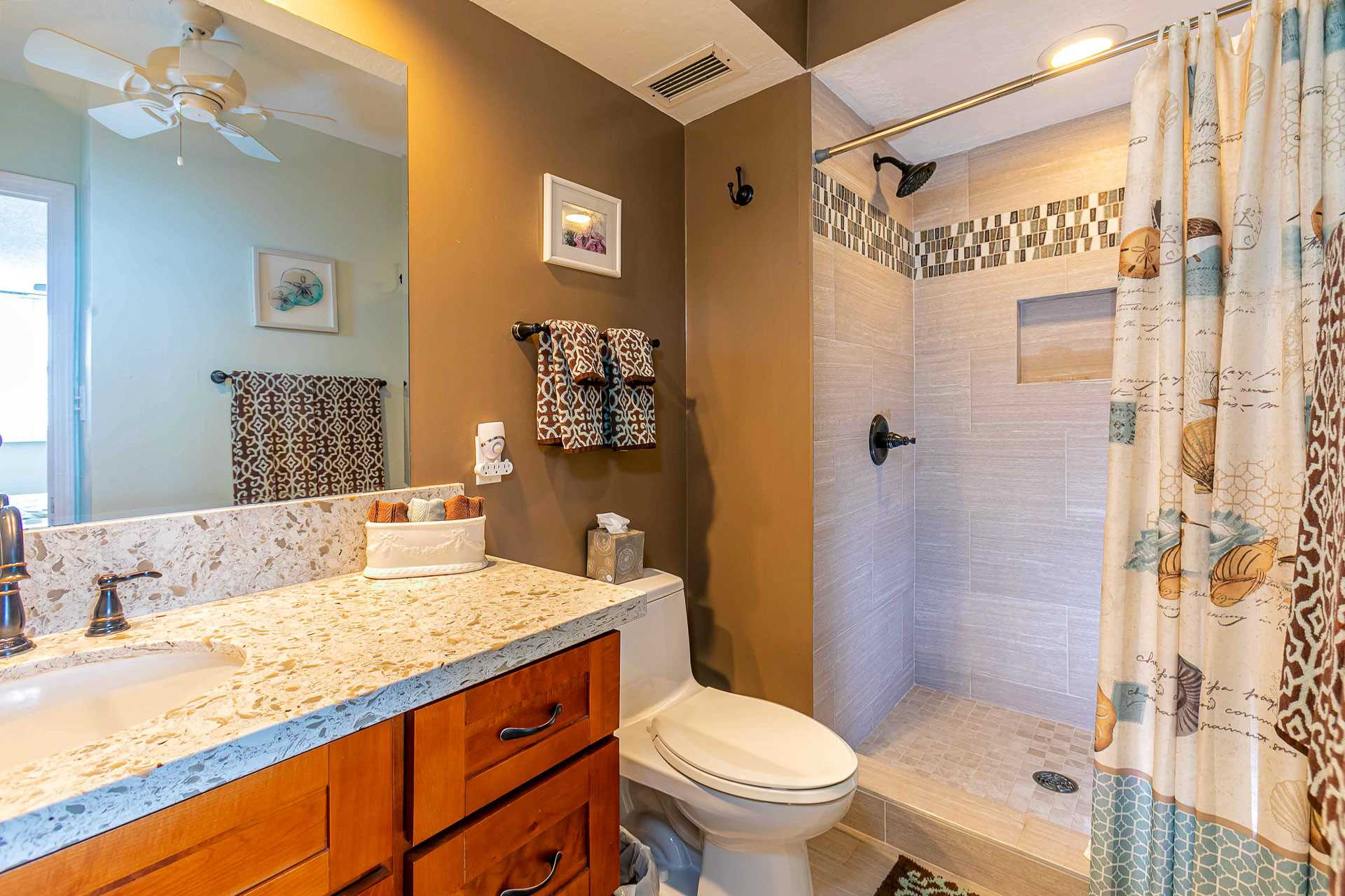 Master suite bathroom. Fully remodeled with walk-in shower a