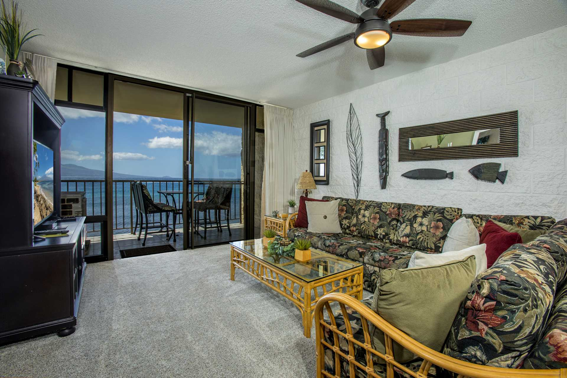 Living room with amazing views of island and ocean!