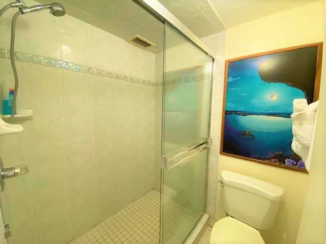 C406 has a walk-in shower with removable showerhead