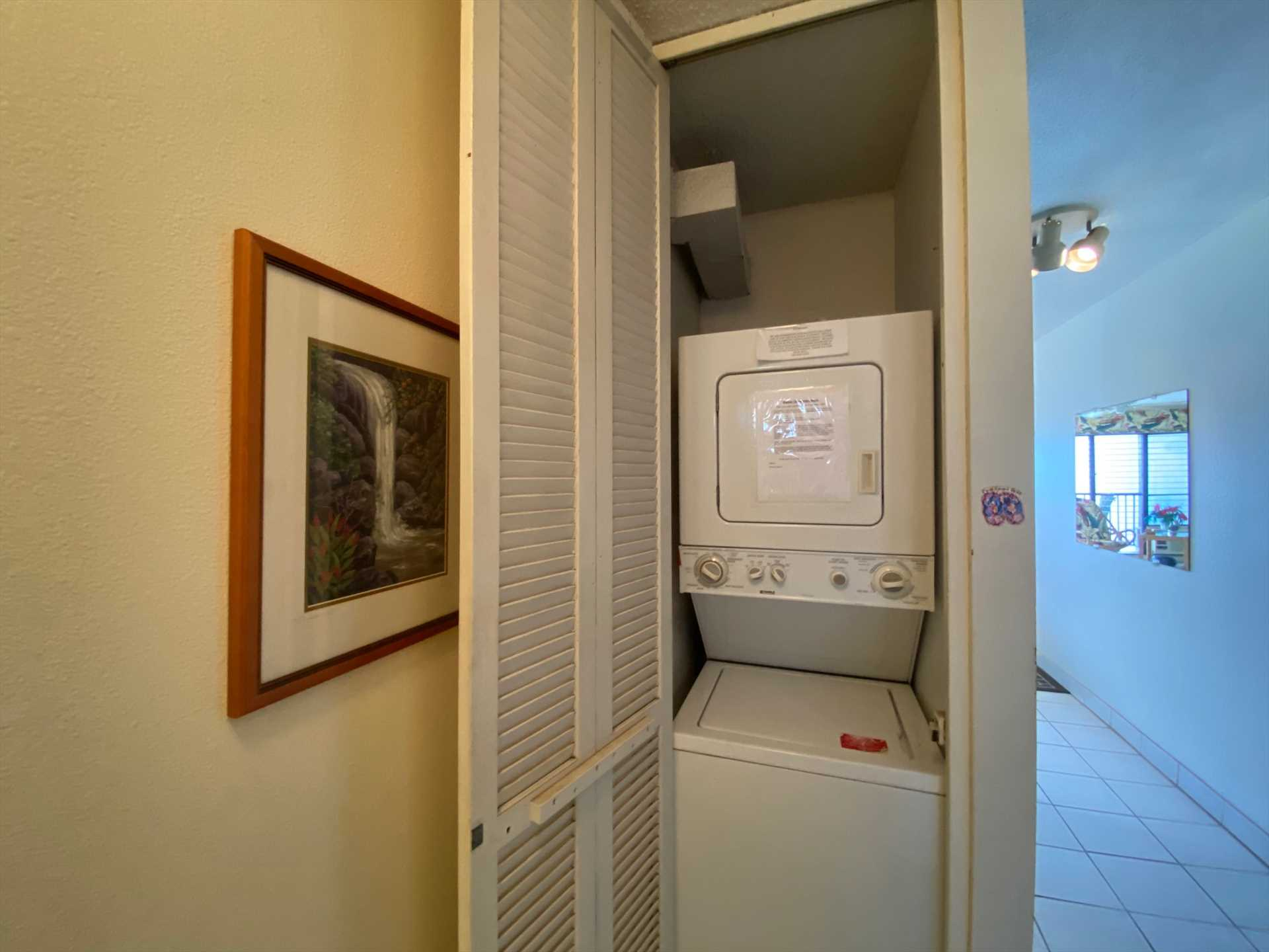 Washer and dryer conveniently located inside condo