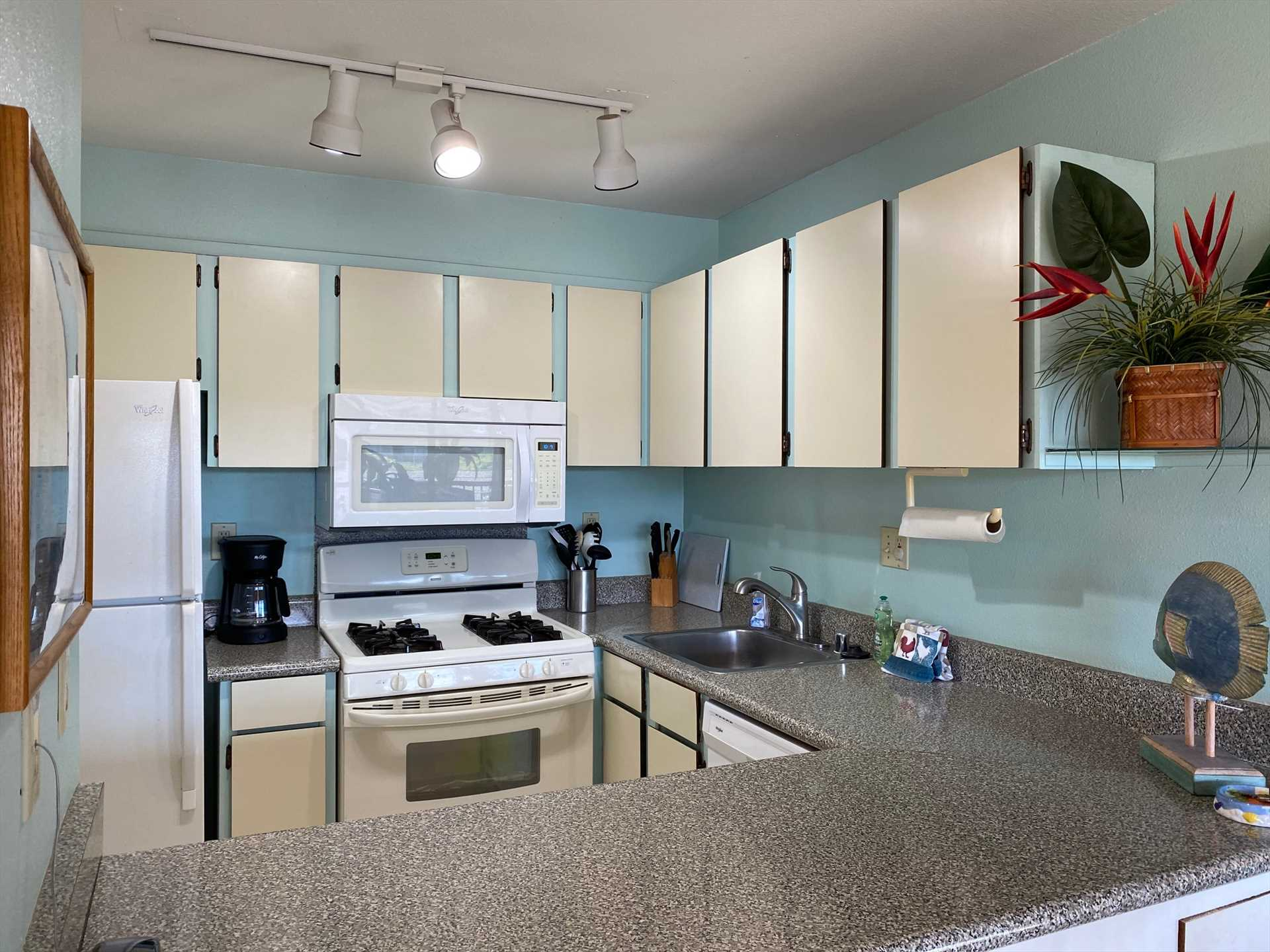 Well-appointed kitchen includes all the comforts of home.  D