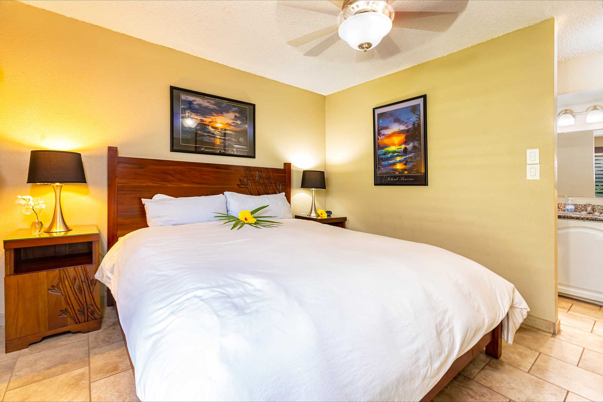 King size bed in the masters bedroom