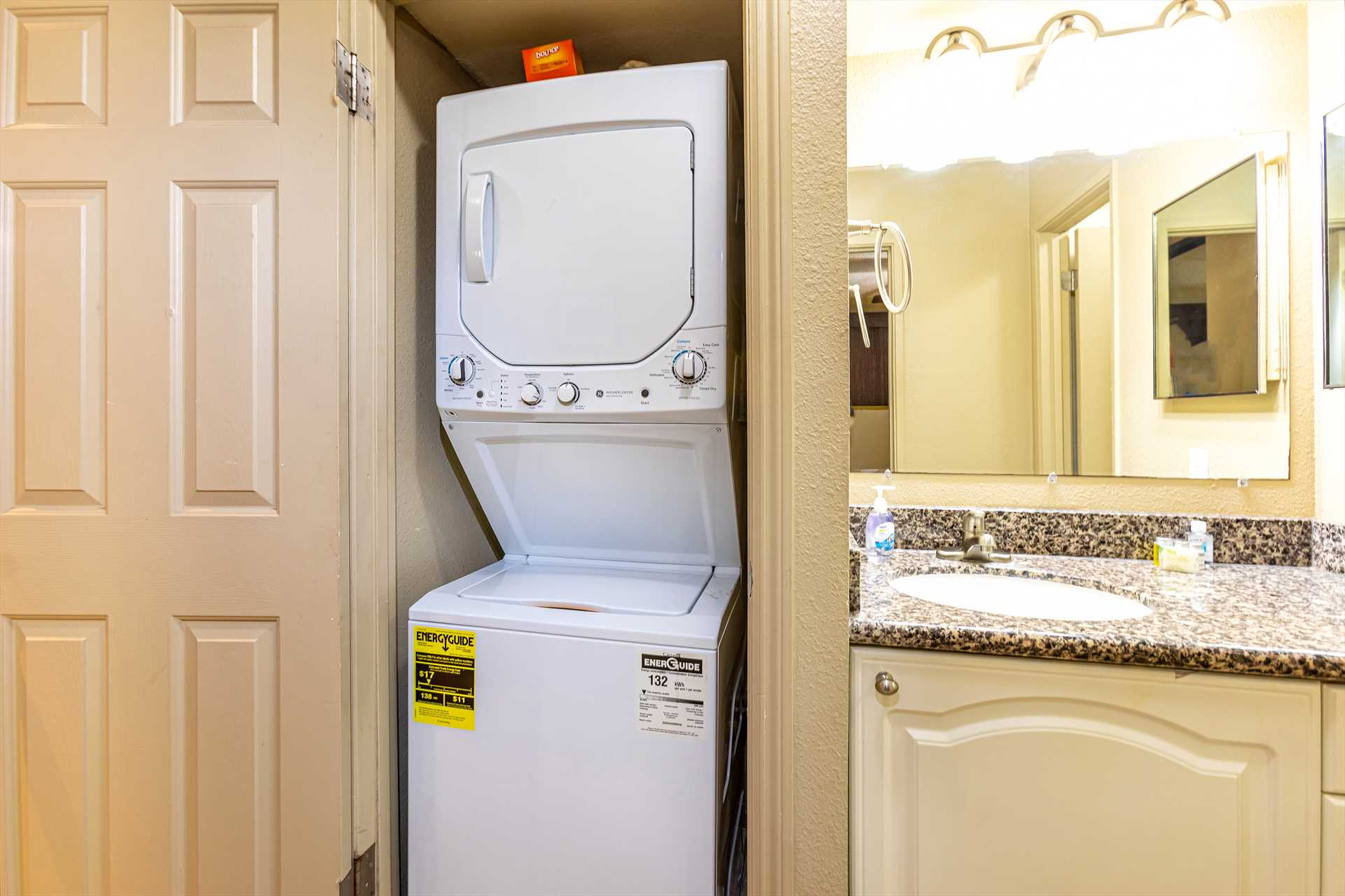 Washer and dryer conveniently located in unit