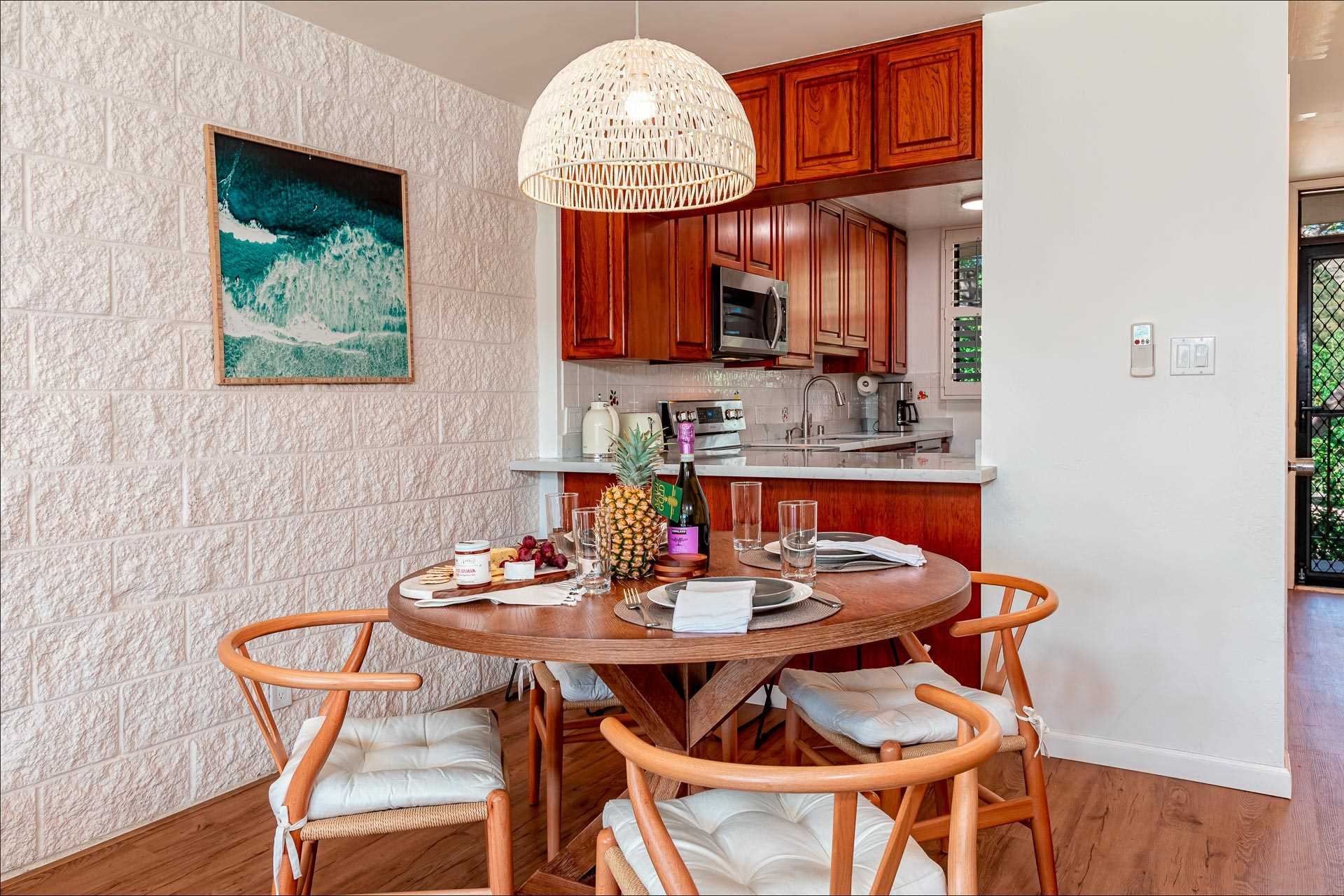 Dining area with kitchen counter pass thru