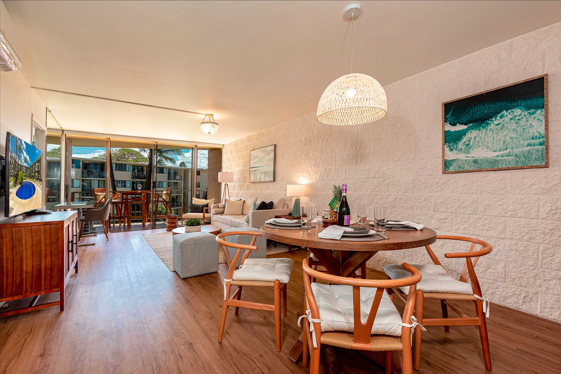 Living room into dining area