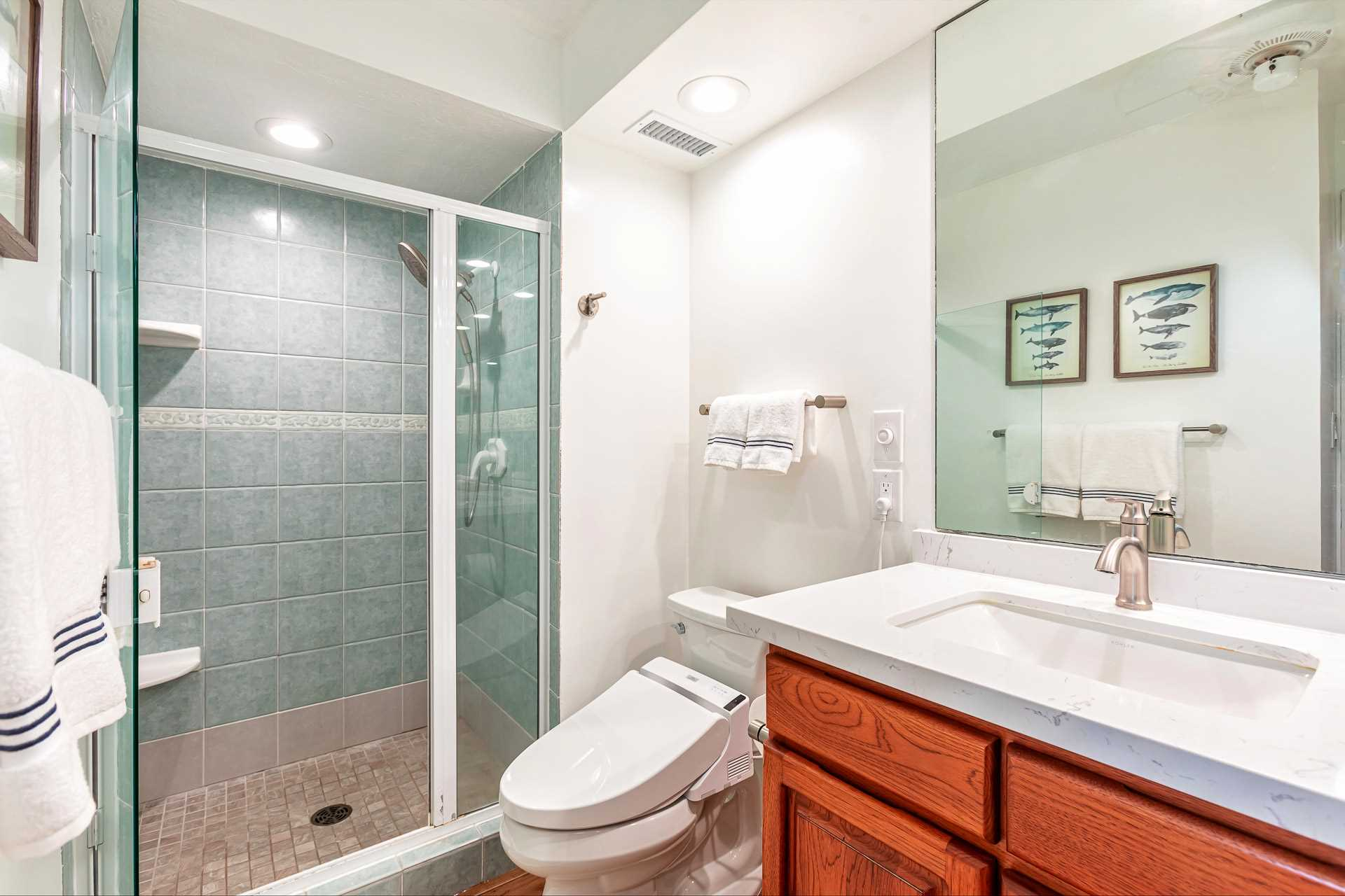 1st bathroom with step-in shower
