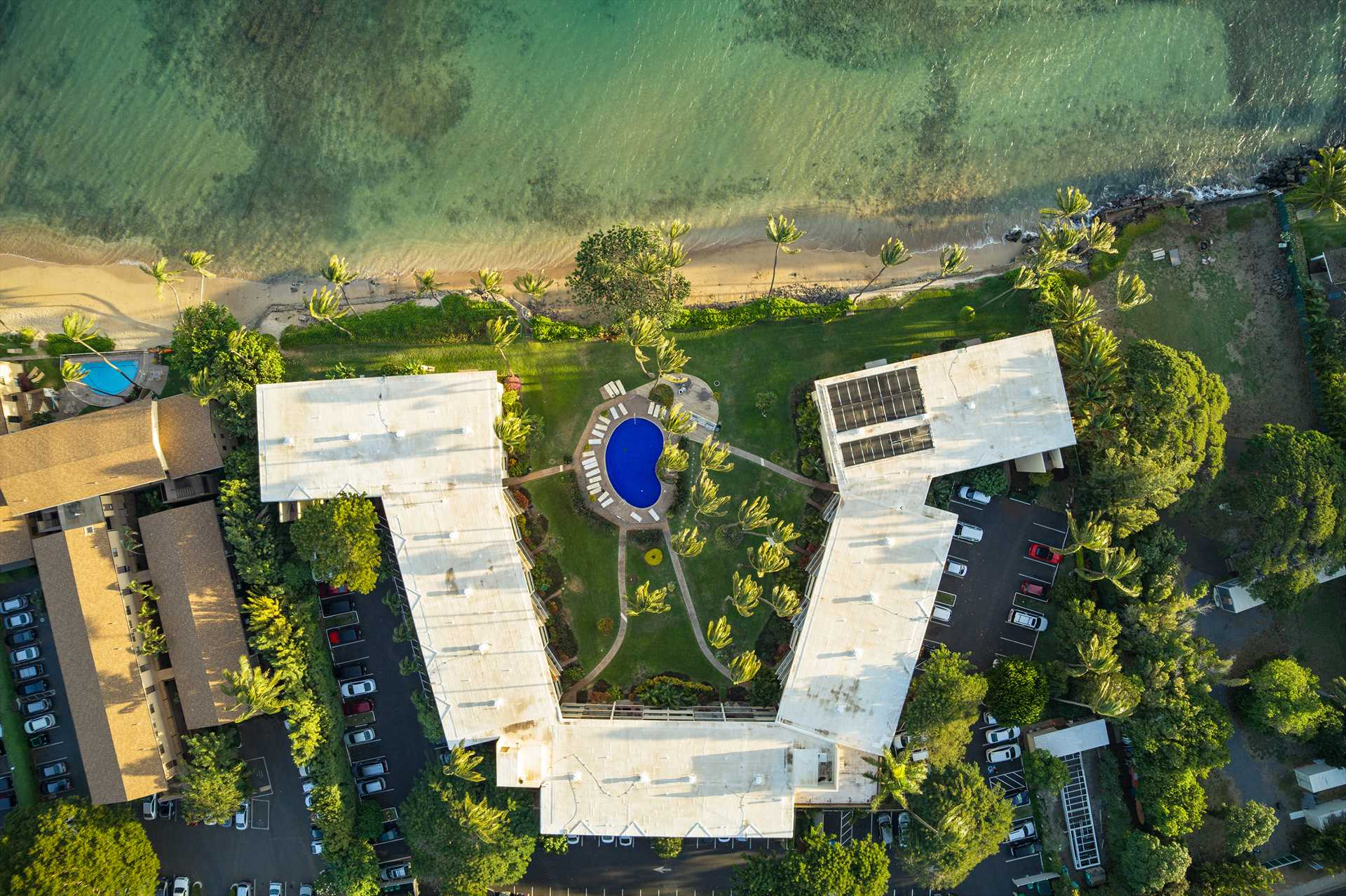 Aerial view of the Kanai A Nalu Resort with the West Maui Mo